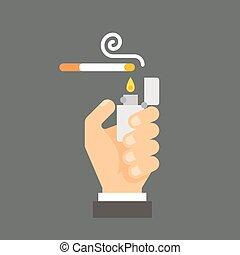 plano, llevar a cabo la mano, cigarrillo, diseño, encendedor