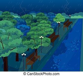 plano, lluvioso, parque, estilo, day., vector, aire libre