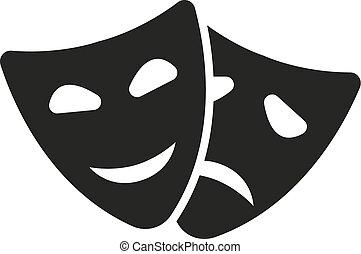 plano, máscara del teatro, símbolo., drama, icon., comedia,...