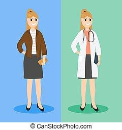 plano, médico de mujer, diseño, ordinario, vida