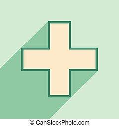 plano, móvil, farmacia, aplicación, logotipo, sombra, icono