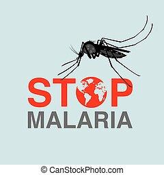 plano, malaria, ilustración, malaria, parada, día, vector, ...