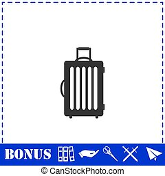 plano, maleta, icono