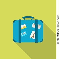 plano, manija, moderno, largo, equipaje, miedoso, diseño, photoframes, sombra, pegatinas, icono