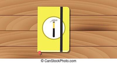 plano, manual, amarillo, libro, usuario, martillo, guía, icono