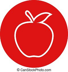 plano, manzana, rojo, icono