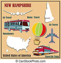 plano, mapa, de, new hampshire, en, el, u..s.., para, viajes aéreos, por, coche, y, train., vector, ilustración