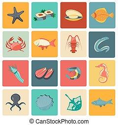 plano, mariscos, conjunto, iconos