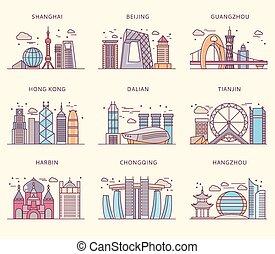 plano, mayor, chino, iconos, estilo, ciudades