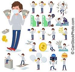 plano, men_money, gris, máscara, tipo, foodie