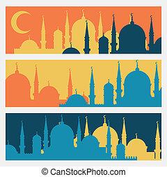 plano, mezquitas, islámico, diseño, banderas, horizontal, ...