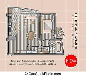 plano, moderno, apartamento