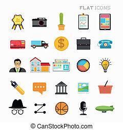 plano, moderno, conjunto, icono