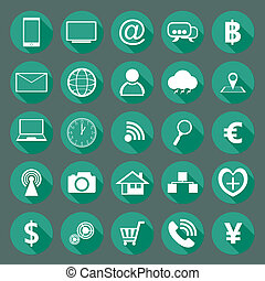 plano, moderno, diseño, colección, iconos
