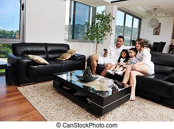 plano, moderno, familia , televisión, interior, hogar,...