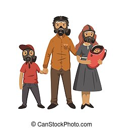 plano, moderno, illustration., pollution., fondo., masks., familia , gas, aislado, aire, ambiental, vector, padres, problemas, blanco, niños