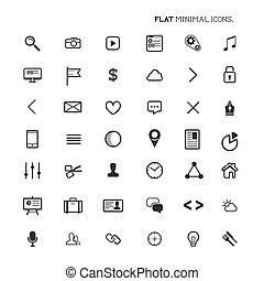 plano, moderno, mínimo, iconos