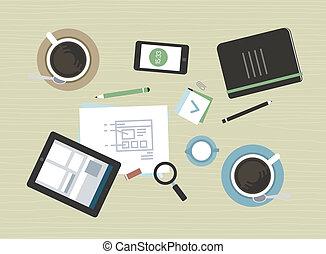 plano, moderno, reunión, ilustración negocio