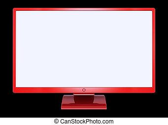plano, monitor, pantalla ancha, computadora, rojo, blanco, exhibición, vacío