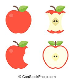 plano, mordedura, iconos, manzana, diseño