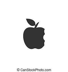 plano, mordedura, manzana, icono