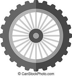 plano, -, motocicleta, neumático, icono