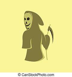 plano, muerte, halloween, ilustración, guadaña, plano de fondo