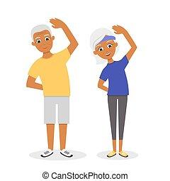 plano, mujer, activo, sano, aislado, caricatura, 3º edad, fondo., norteamericano, vector, ejercicios, couple:, blanco, feliz, afro, style., hombre