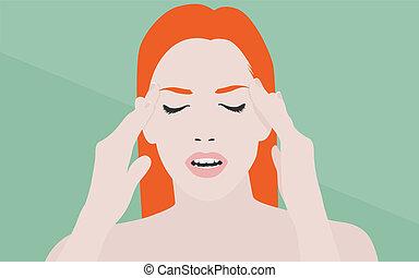 plano, mujer, ilustración, dolor de cabeza