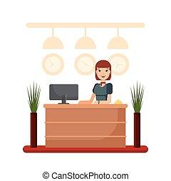plano, mujer, oficina, empresa / negocio, receptionist., concept., hotel, joven, bienvenida, posición, director, vector, ilustración, recepción, registro, escritorio, niña, acción