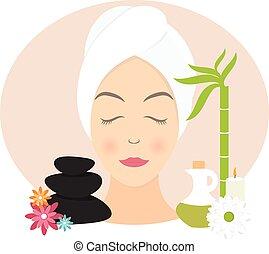 plano, mujer, toalla, ilustración, vector, diseño, spa.