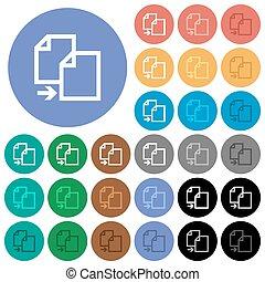 plano, multi coloró, iconos, artículo, copia, redondo