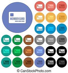 plano, multi coloró, iconos, miembro, redondo, tarjeta