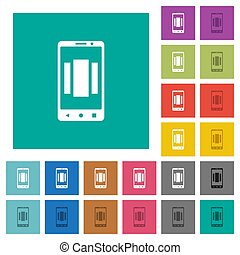 plano, multi, cuadrado, coloreado, iconos, móvil, arriba,...