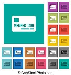 plano, multi, cuadrado, coloreado, iconos, miembro, tarjeta
