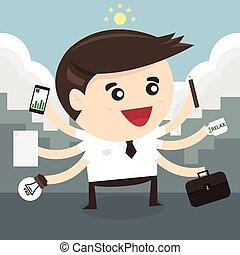 plano, multi tasking, diseño, habilidad, hombre de negocios