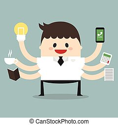 plano, multi tasking, vector, habilidad, hombre de negocios, diseño, illustion