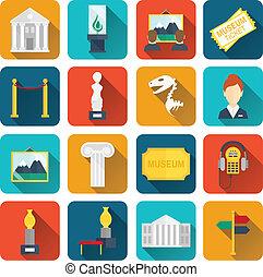 plano, museo, iconos