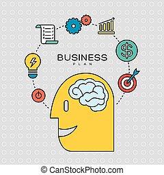 plano negócio, conceito, esboço, ícones, ilustração