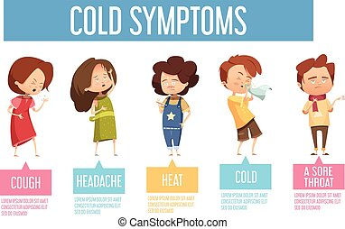 plano, niños, cartel, síntomas, infographic, frío