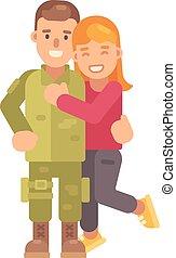 plano, novio, vuelto, ella, carácter, ilustración, abrazar,...