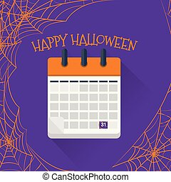 plano, octubre, calendario, 31
