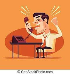 plano, oficina, carácter, enojado, trabajador, ilustración, gritos, vector, teléfono., caricatura