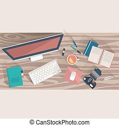 plano, oficina, cima, lugar de trabajo, vector, diseño, lugar de trabajo, concept., vista
