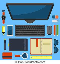 plano, oficina, cima, vector, diseño, lugar de trabajo, ...