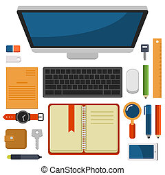 plano, oficina, cima, vector, diseño, lugar de trabajo, vista
