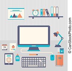 plano, oficinacomercial, iconos, artículos, moderno, diario,...