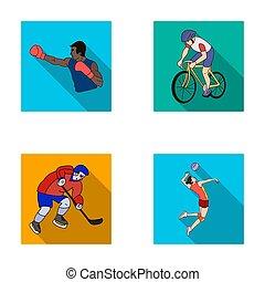 plano, olímpico, conjunto, iconos, volleyball., símbolo, web., ciclismo, ilustración, boxeo, hockey, estilo, deporte, hielo, colección, bitmap, raster, acción