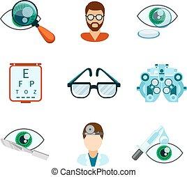 plano, optometría, conjunto, óptico, iconos