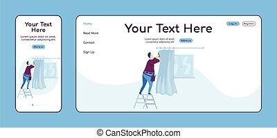 plano, página principal, móvil, plataforma, cruz, ui., página web, aterrizaje, color, pc, ahorcadura, layout., uno, vector, casa, hombre, reparador, página, sitio web, cortinas, reparaciones, hogar, diseño, template., adaptable, reparación